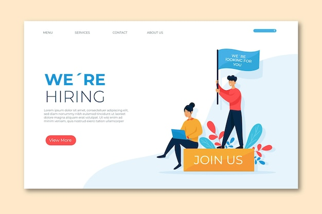 Landing page we are hiring template
