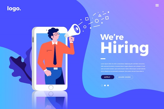 Landing page. we are hiring