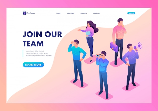 Landing page of we are looking for new people to our team