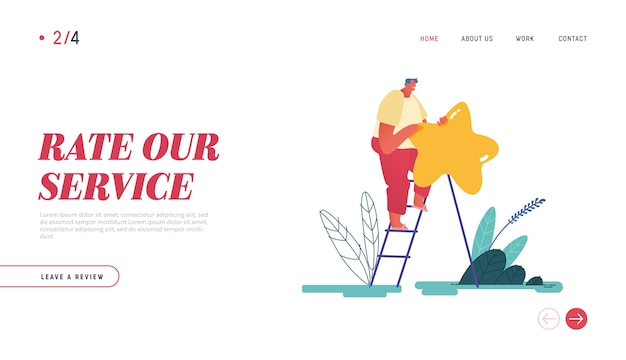 Landing page, web design, banner with man leaving review. customer experience and satisfaction, positive feedback, five star rating, product or service review and evaluation.