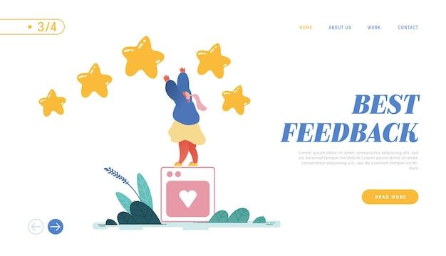 방문 페이지, 웹 디자인, 여자가 최고의 리뷰를 남기는 배너. 고객 경험 또는 만족도, 긍정적 인 피드백, 별 5 개 등급, 제품 또는 서비스 검토 및 평가.