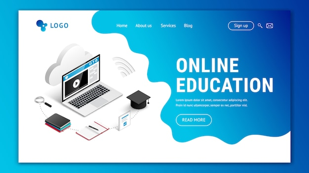 Landing page web design template for online education. modern 3d isometric e-learning web site concept.  illustration with laptop, notebook, phone, coffee, pencils, cloud, blue amoeba background