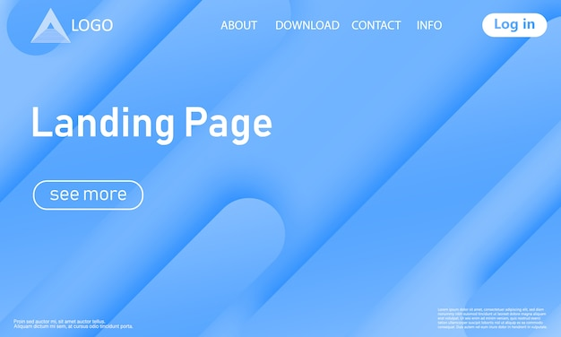 Landing page web design with abstract design