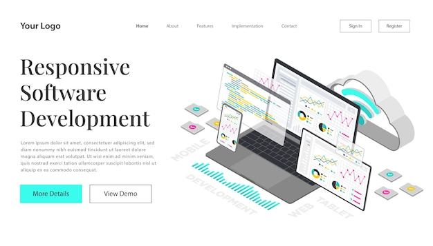 Landing page web development and coding. cross platform development website. adaptive layout user interface on screen laptop, tablet and phone.  isometric concept illustration. cloud technology.