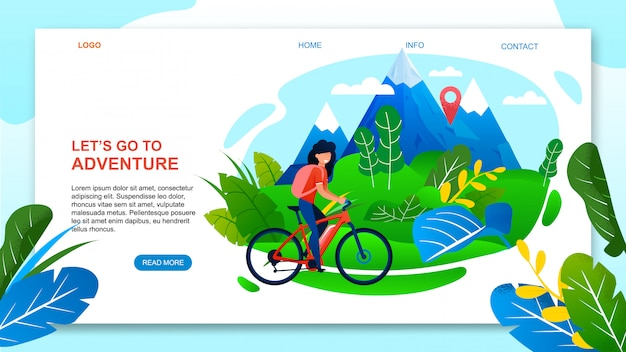 Landing page web template for adventure on mountain bike. cartoon woman tourist riding bicycle.