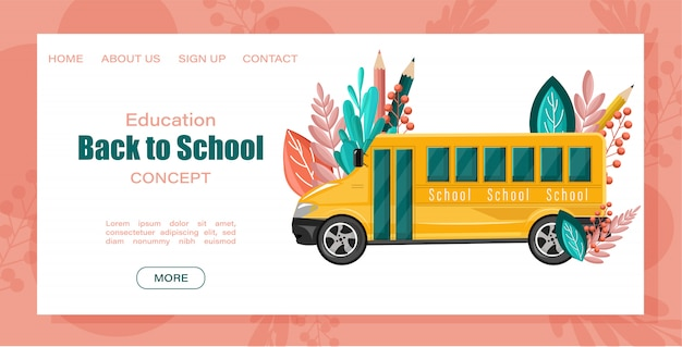 Landing page web template. back to school bus.
