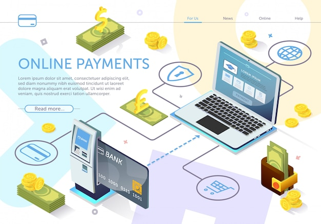 Landing page web template. bank card at atm. online payment system