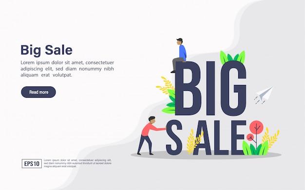 Landing page web template of big sale
