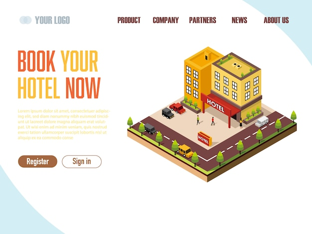 Landing page web template booking hotel isometric