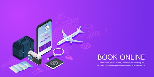 Landing page web template for booking online concept summer holiday vacation.