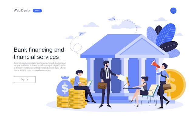 Landing page web template business concept for online banking, financial transaction.