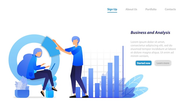 Landing page web template. business meeting, bar charts and circles for financial analysis, developing company profits.
