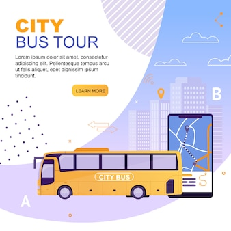 Landing page web template city bus tour
