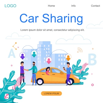 Landing page web template. city car sharing. town cab business.