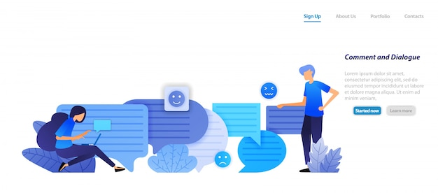 방문 페이지 웹 템플릿. 주석 상자와 대화 상자. 사람들은 말과 커뮤니케이션을위한 버블 채팅 이모티콘으로 서로 채팅합니다.