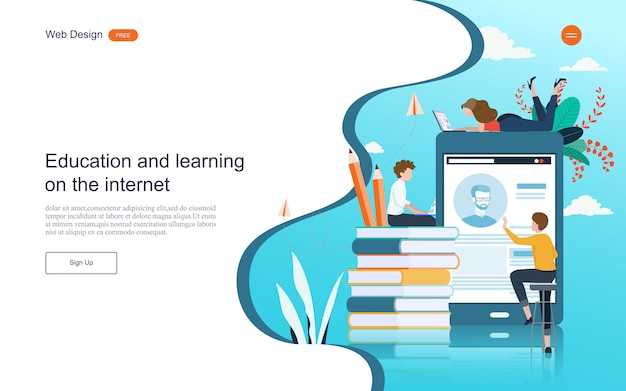 Landing page web template. concept of education for online learning, training and courses.