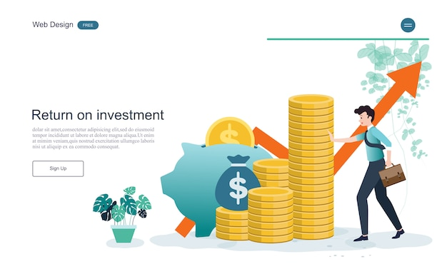 Landing page web template. concept for financial and investment.return on investment.
