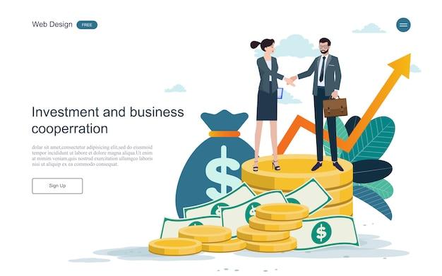 방문 페이지 웹 템플릿. 금융 및 투자에 대한 개념. 투자 수익.