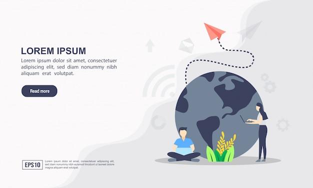 Целевая страница веб-шаблон концепции сети Premium векторы