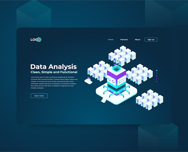 Landing page web template for cryptocurrency and blockchain isometric composition, analysts and managers working on crypto start up, data analysts