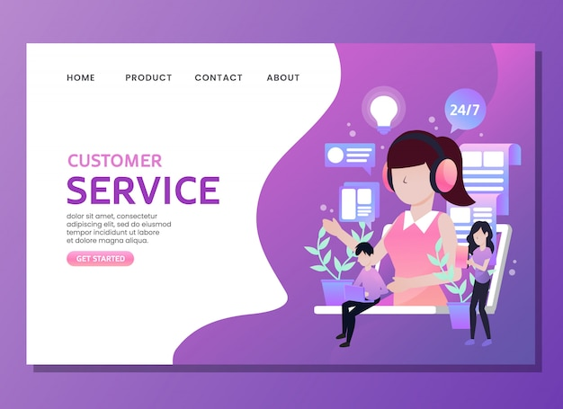 Landing page or web template. customer service with woman as an assistant