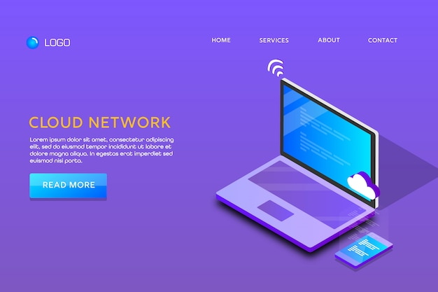 Landing page or web template design. cloud network