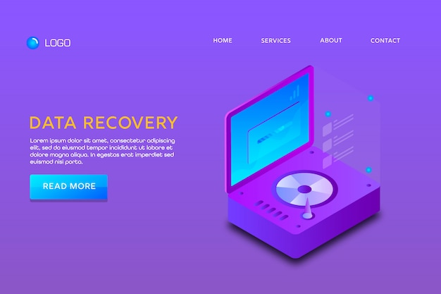 Landing page or web template design. data recovery