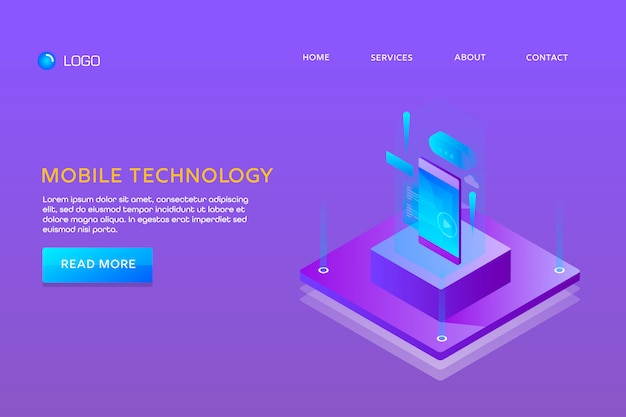 Landing page or web template design. mobile technology