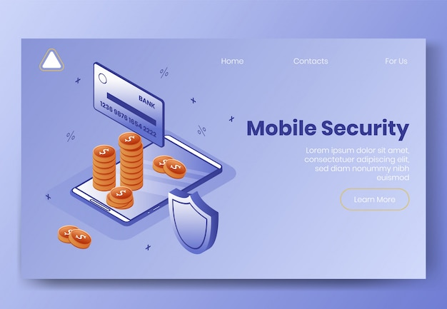 Landing page web template. digital isometric design concept