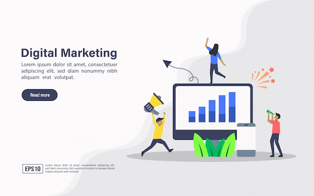 Landing page web template of digital marketing