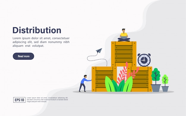 Landing page web template of distribution