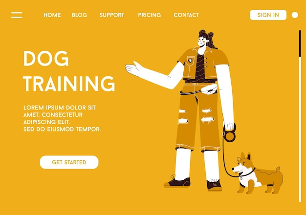 Landing page or web template of dog training concept