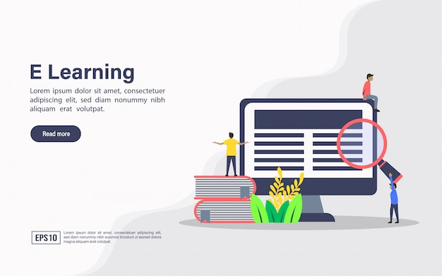 Landing page web template of e learning