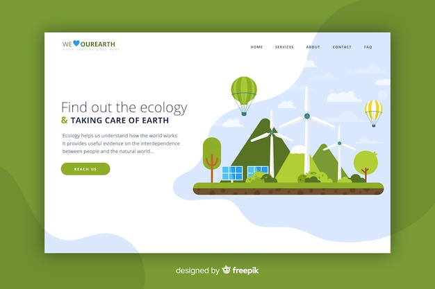Modello web della pagina di destinazione per azienda ecologica