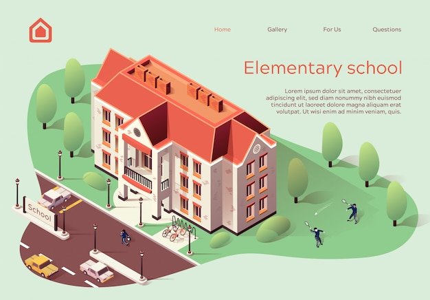 Landing page web template for elementary school cartoon.