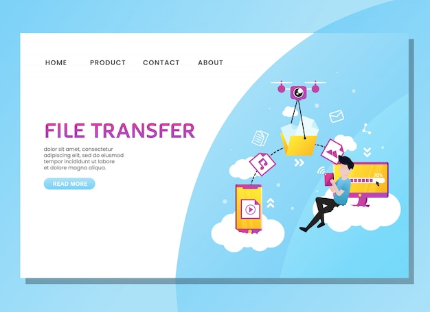 Landing page or web template. file transfer with man sit on the cloud