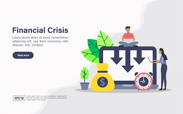 Landing page web template of financial crisis