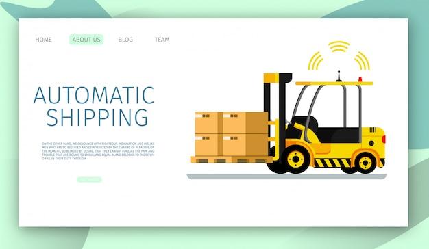 自動配送車を持ち上げる倉庫の貨物着陸ページwebテンプレート