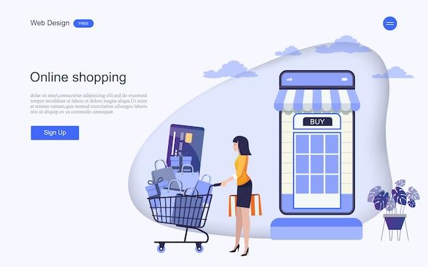 온라인 쇼핑 및 서비스를위한 방문 페이지 웹 템플릿