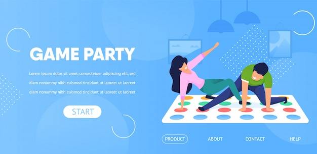 Landing page web template. game party couple play twister