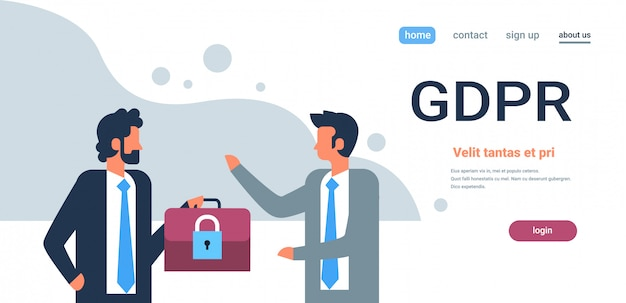 Landing page or web template for gdpr business, general data protection regulation concept