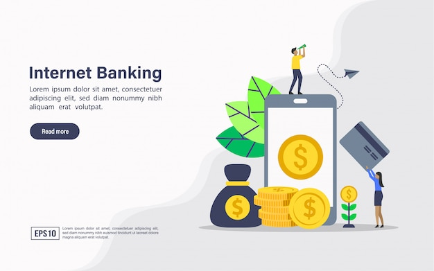 Landing page web template of internet banking