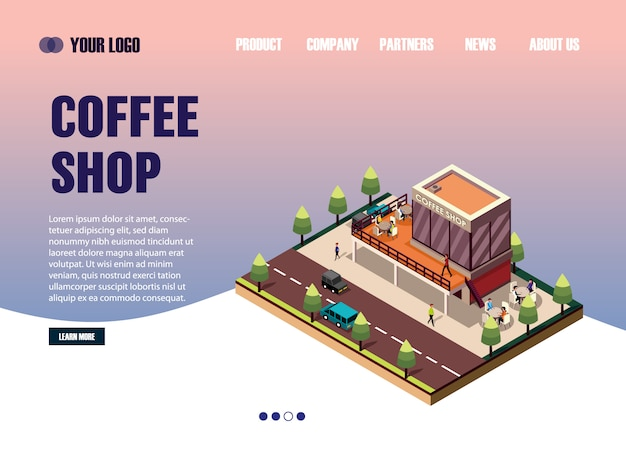Landing page web template isometric coffee shop