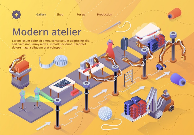 Landing page web template for manufacturers of fibers, machinery and equipment