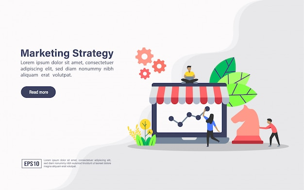Landing page web template of marketing strategy