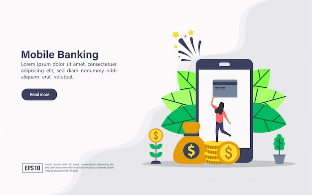 Landing page web template of mobile banking