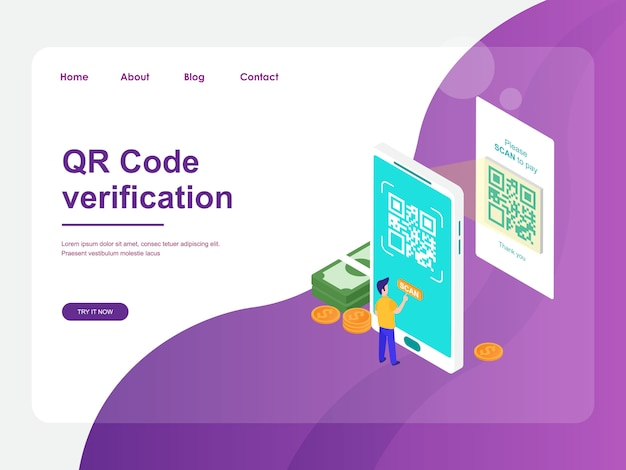 Landing page web template. mobile payment with qr code verification concept flat isometric design
