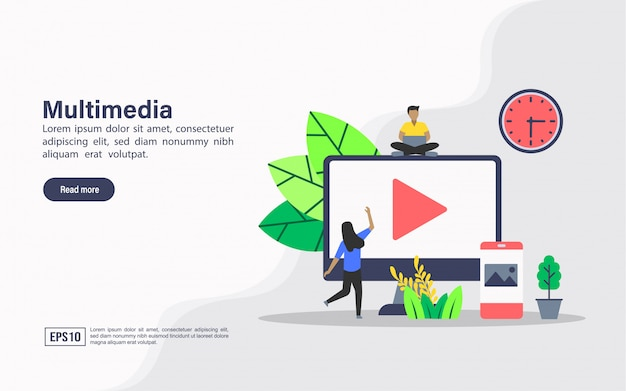 Landing page web template of multimedia