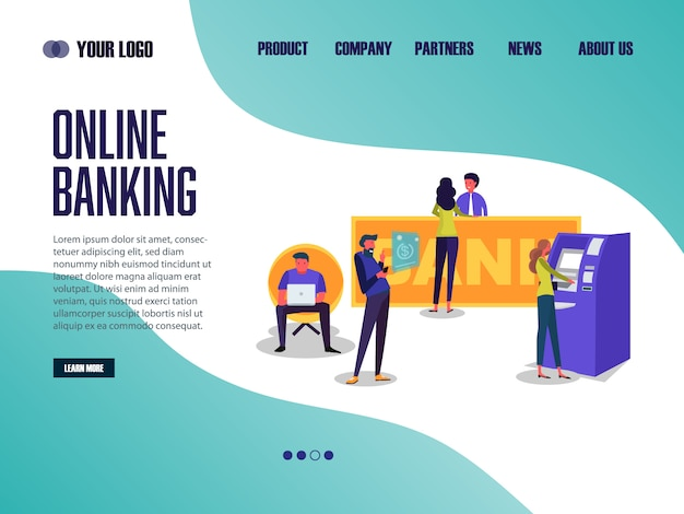 Landing page web template online banking