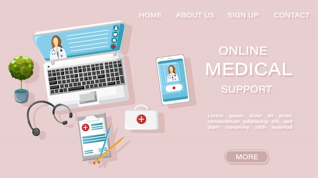 Landing page web template. online doctor medical treatment site concept
